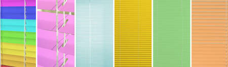 Collage with window blinds in different colors. Banner design