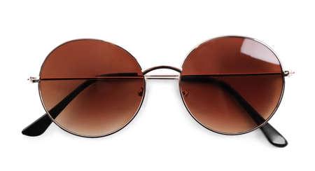 Stylish sunglasses isolated on white. Beach object