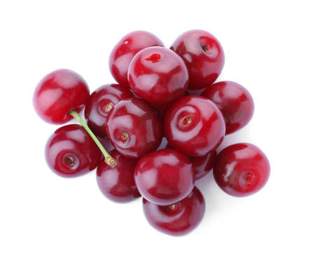 Bunch of juicy cherries on white background, top view