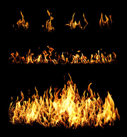 Collection of bright fire flames on black background Banque d'images