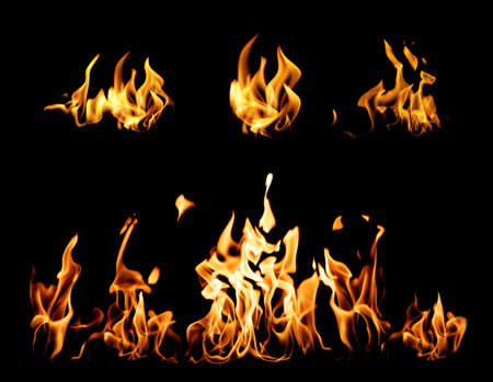 Collection of bright fire flames on black background