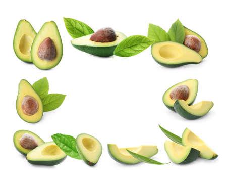 Frame of ripe avocados on white background