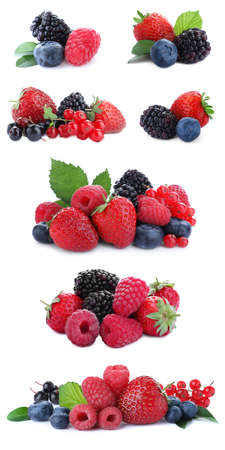 Set of different mixed berries on white background