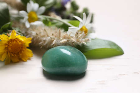 Healing gemstone and different herbs on white wooden table, closeup Foto de archivo