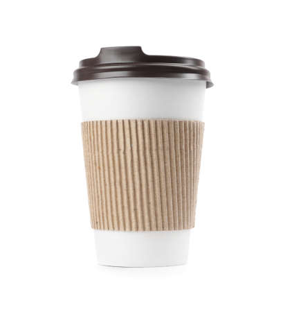 Takeaway paper coffee cup with cardboard sleeve isolated on white Foto de archivo