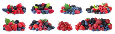 Set of different mixed berries on white background, banner design