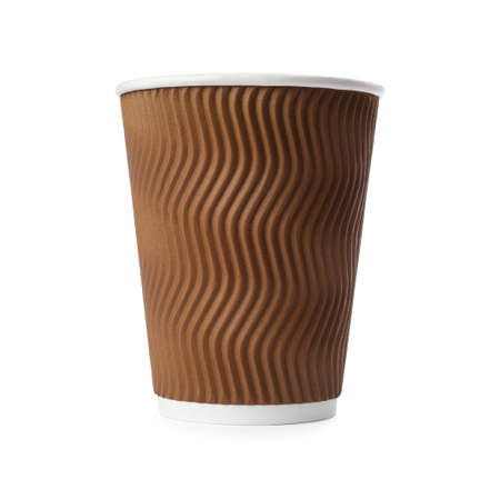 Takeaway paper coffee cup isolated on white Foto de archivo