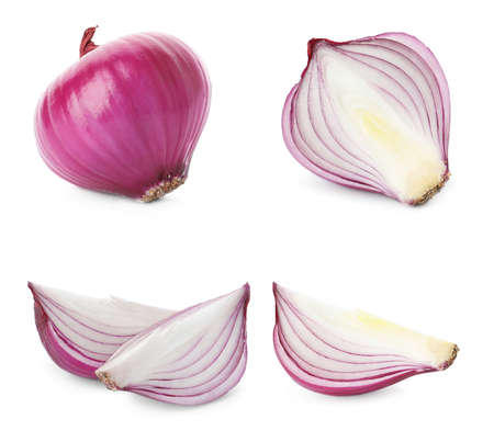 Set of red cut and whole onion on white background