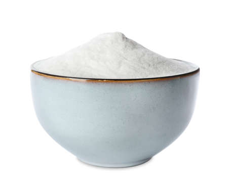 Baking soda in ceramic bowl isolated on white Standard-Bild