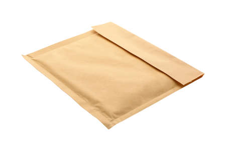 Kraft paper envelope isolated on white. Mail service
