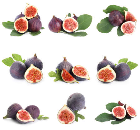 Set of cut and whole figs on white background Standard-Bild