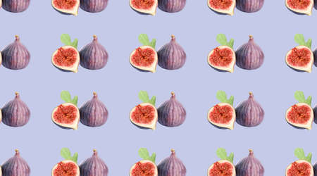 Pattern of cut and whole figs on periwinkle color background
