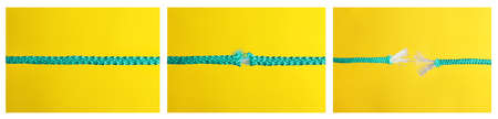 Collage of rope rupturing on yellow background