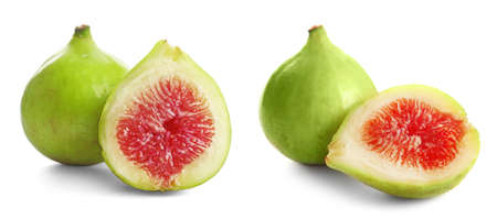 Set of cut and whole green figs on white background. Banner design