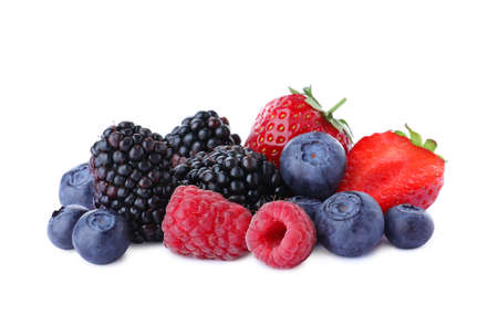 Mix of different fresh berries isolated on white