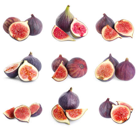 Set of cut and whole figs on white background