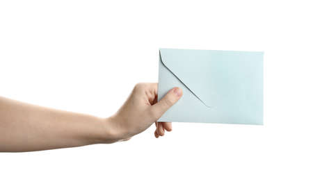 Woman holding paper envelope on white background, closeup