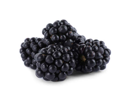 Beautiful tasty ripe blackberries on white background