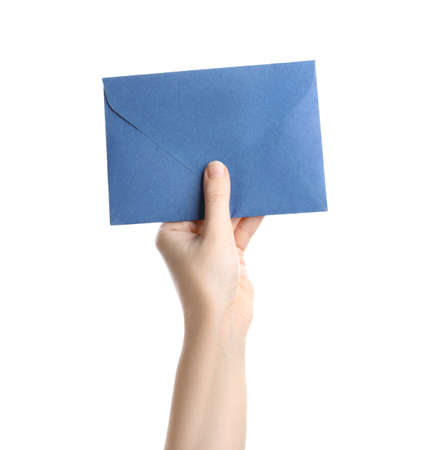 Woman holding blue paper envelope on white background, closeup