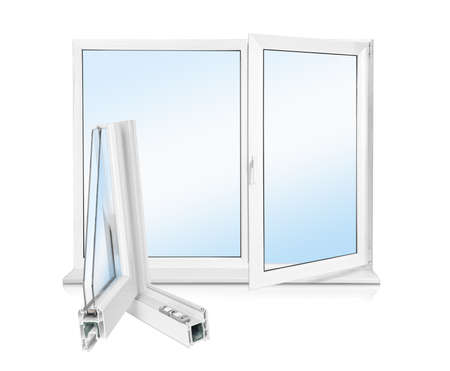 Window and sample of profile on white background Banque d'images