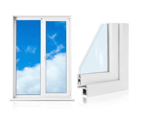 Window and sample of profile on white background