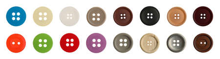 Set of sewing buttons on white background, banner design