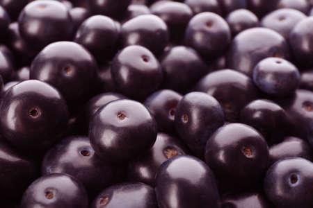 Fresh ripe acai berries as background, closeup
