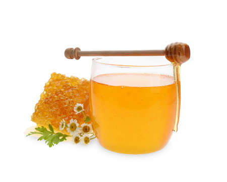 Composition with fresh honey on white background