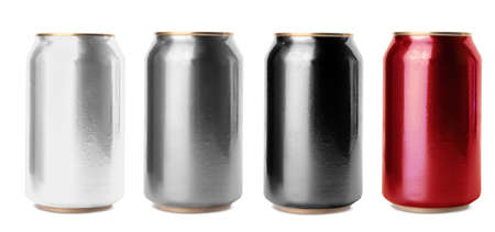 Set with aluminum drink cans in different colors on white background. Banner design