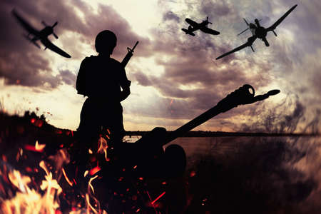 Soldier with weapon and planes in combat zone. Military service