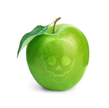 Green poison apple with skull image on white background