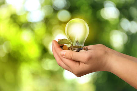 Solar energy concept. Woman holding glowing light bulb with seedling and coins against green blurred background, closeup Stockfoto