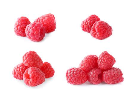 Set of fresh ripe raspberries on white background Imagens