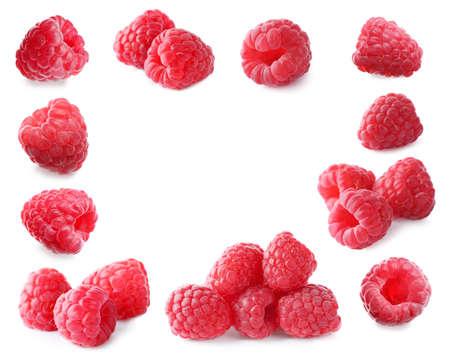 Frame of fresh ripe raspberries on white background