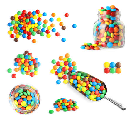 Set of delicious candies on white background, top view