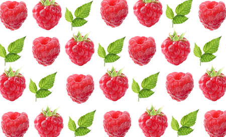 Pattern of fresh ripe raspberries and green leaves on white background