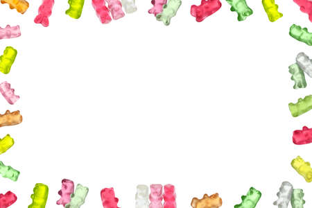Frame of tasty jelly candies on white background