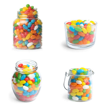 Set of delicious jelly candies on white background