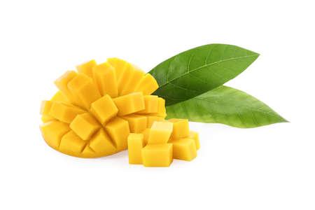 Cut ripe mango isolated on white. Exotic fruit