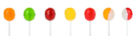Set of delicious candies on white background. Banner design