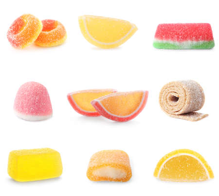 Set of delicious candies on white background Imagens