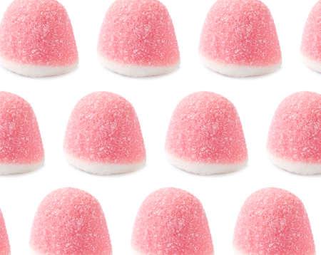 Tasty jelly candies on white background. Pattern design