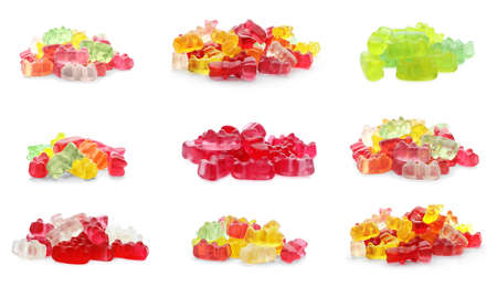 Set of delicious jelly candies on white background. Banner design