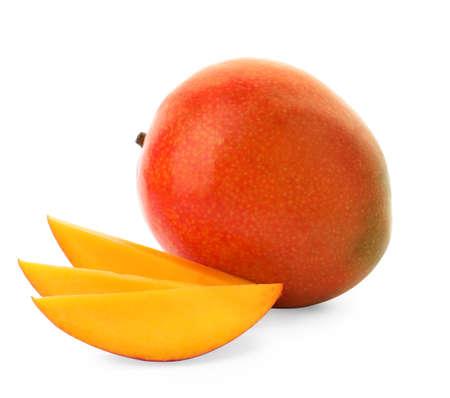 Whole and cut ripe mangoes isolated on white. Exotic fruit
