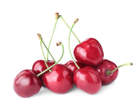 Delicious fresh ripe cherries isolated on white