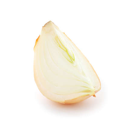 Piece of fresh onion isolated on white