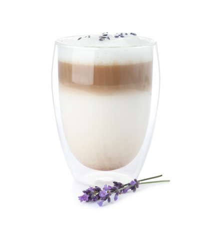 Delicious latte with lavender isolated on white