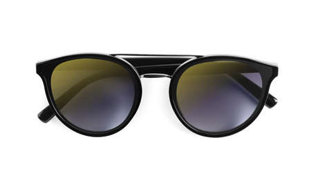 Stylish sunglasses on white background. Summer accessory