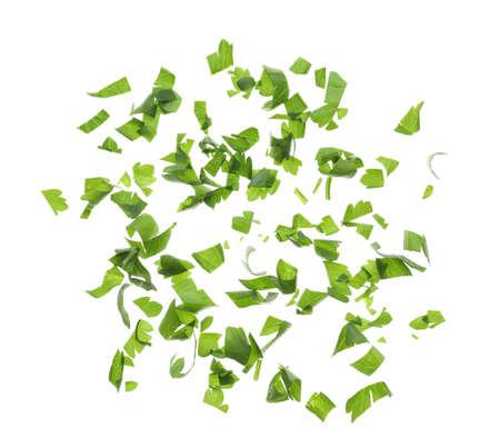 Cut fresh green parsley on white background