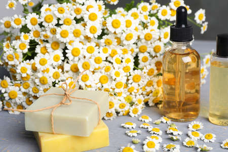 Composition with chamomile flowers and cosmetic products on wooden table
